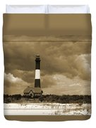 Fire Island Light In Sepia Duvet Cover