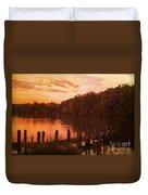 Fire On Lake Newport  Duvet Cover