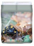 Fire Salamander Dry Leaves Duvet Cover