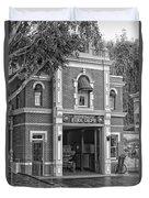 Fire Station Main Street Disneyland Bw Duvet Cover