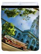 Fire Truck And Ferry Building Duvet Cover