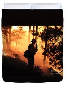 Firefighter At Night On The White Draw Fire Duvet Cover