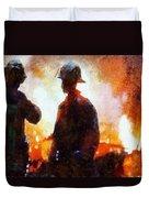 Firefighters At The Scene Duvet Cover