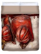 Fireman - Hat - Old Fashioned Fire Hats  Duvet Cover by Mike Savad