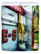 Fireman - Hose In Bucket On Fire Truck Duvet Cover