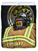 Fireman Turnout Gear Lieutenant Duvet Cover