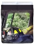 Firemen - Helmet Inside Cab Of Fire Truck Duvet Cover by Susan Savad