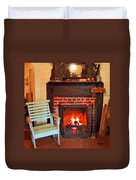 The Family Hearth - Fireplace Old Rocking Chair Duvet Cover