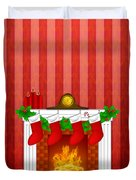 Fireplace Christmas Decoration Wth Stockings And Wallpaper Duvet Cover