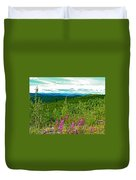 Fireweed And Mountains From Top Of The World Highway-yukon Duvet Cover