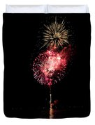 Fireworks Are Shot Off Over Lake Tahoe Duvet Cover