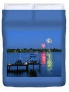 Fireworks Over Stony Creek Duvet Cover by Brian Wallace