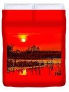 Firey Dawn Over The Marsh Duvet Cover