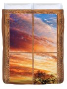 First Dawn Barn Wood Picture Window Frame View Duvet Cover