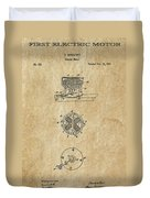 First Electric Motor 3 Patent Art 1837 Duvet Cover