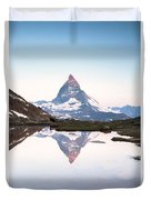 First Light On The Summit Of Matterhorn Duvet Cover