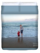 First Time At The Beach Duvet Cover