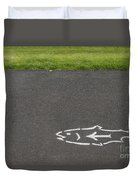 Fish And Arrow On Pavement Duvet Cover
