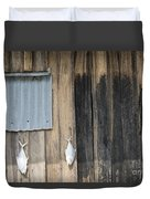 Fish Drying Outside Rustic Fisherman House Duvet Cover
