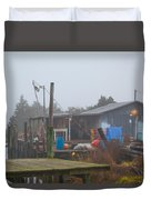 Fish House In Fog Duvet Cover