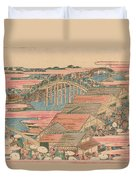 Fish Market By River In Edo At Nihonbashi Bridge  Duvet Cover by Hokusai
