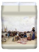 Fish Sale On The Beach  Duvet Cover by Bernardus Johannes Blommers