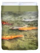 Fish - School Of Koi Duvet Cover by Susan Savad