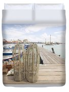 Fish Trap On Jetty In Penang Duvet Cover
