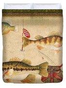 Fish Trio-a-greenborder Duvet Cover