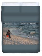 Fisherman At The Beach Duvet Cover