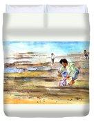 Fisherman On Las Canteras Beach Duvet Cover