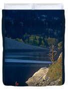 Fisherman On Lundy Lake Eastern Sierras California Duvet Cover