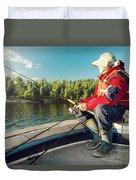 Fisherman Sitting On Foredeck Duvet Cover