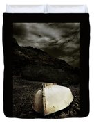 Fishermans Boat Parked On The Beach Duvet Cover