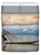 Fishermen In The Inle Lake. Myanmar Duvet Cover