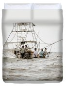 Fishermen Reel In Line From The Back Duvet Cover