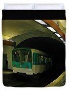 Fisheye View Of Paris Subway Train Duvet Cover