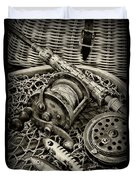 Fishing - All That Gear In Black And White Duvet Cover