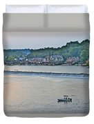 Fishing At Boathouse Row Duvet Cover