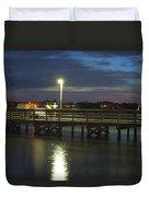 Fishing At Soundside Park In Surf City Duvet Cover by Mike McGlothlen