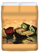 Fishing Barges On The River Sugovica Duvet Cover by Emil Parrag