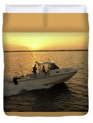 Fishing Boat Coming In At Sunset Duvet Cover