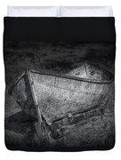 Fishing Boat On Shore In Black And White Duvet Cover