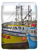 Fishing Boat Reflection In Branch-newfoundland-canada Duvet Cover