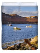 Fishing Boats At Anchor In A Quiet Bay On The Isle Of Skye In Sc Duvet Cover