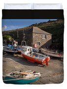 Fishing Boats At Mullion Cove Duvet Cover