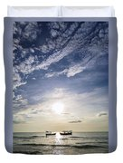 fishing boats at sunset in koh rong Cambodia Duvet Cover