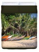 Fishing Boats B Mirissa Beach Duvet Cover