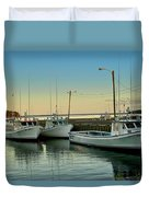 Fishing Boats In A Harbor Towards Evening On Prince Edward Island Duvet Cover