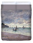 Fishing Boats In Front Of The Beach And Cliffs Of Pourville Duvet Cover